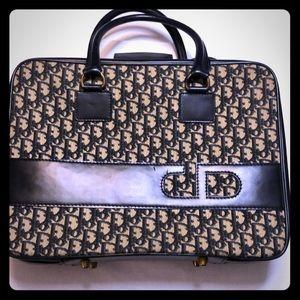 Authentic Vintage Dior Navy Monogram Travel Bag
